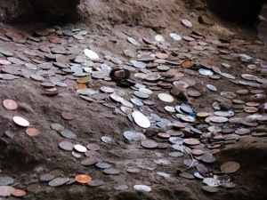 Coins thrown at the Temple of Caesar, Emperor of Rome