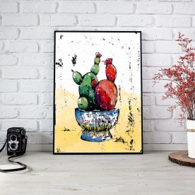 Title: Cacti in a Bowl Medium: Wax, Watercolor, Photoshop Size: Various Poster Prints: Available