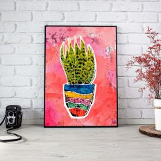 Title: Snake Plant Medium: Wax, Watercolor, Photoshop Size: Various Poster Print: Available